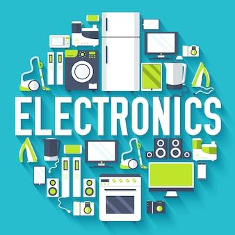 Concepto de plantilla de infografías de círculo de electrodomésticos de electrónica para el hogar