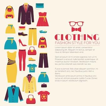 Concepto de plantilla de infografías de ropa de moda