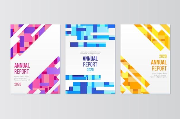 Concepto de plantilla de informe anual colorido