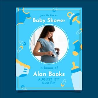 Concepto de plantilla de invitación de baby shower