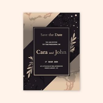 Concepto de plantilla de invitación de boda elegante