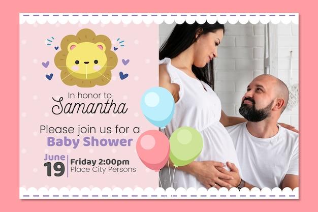 Concepto de plantilla de invitación de ducha de bebé niña