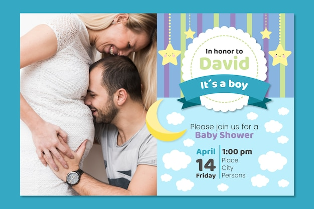 Concepto de plantilla de invitación de ducha de niño bebé