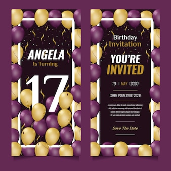 Concepto de plantilla de invitación de tarjeta de cumpleaños elegante