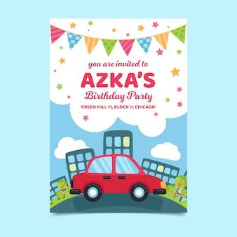 Concepto de plantilla de invitación de tarjeta de cumpleaños para niños