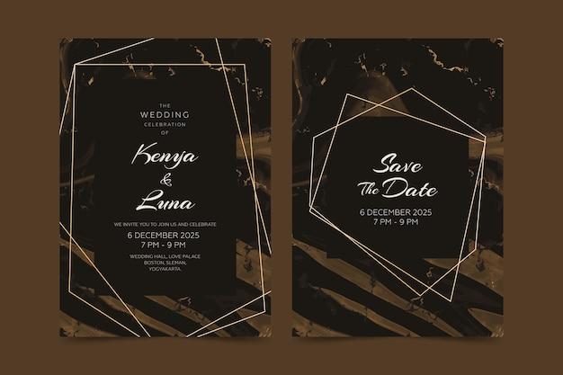 Concepto de plantilla de invitación de tarjeta de mármol de boda