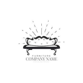 Concepto de plantilla de logotipo de muebles retro
