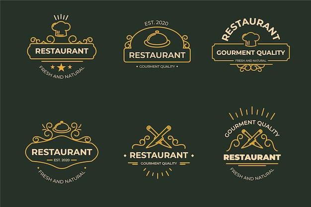 Concepto de plantilla de logotipo de restaurante retro