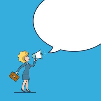Concepto de plantilla de mensaje de burbuja de chat de fondo en blanco blanco de promoción de negocios de estilo de arte lineal plano. promoción de megáfono de empresaria.