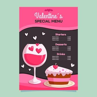Concepto de plantilla de menú de día de san valentín de diseño plano