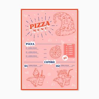 Concepto de plantilla de menú de pizza