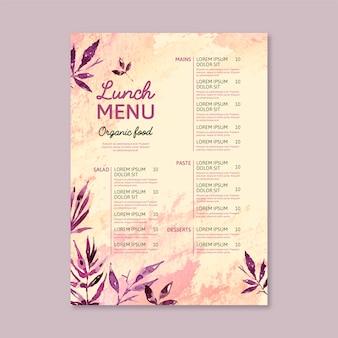 Concepto de plantilla de menú de restaurante acuarela