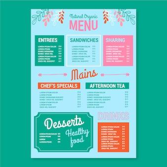 Concepto de plantilla de menú de restaurante colorido