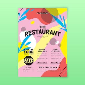 Concepto de plantilla de menú de restaurante