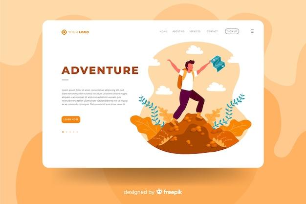Concepto de plantilla de página de aterrizaje de aventura