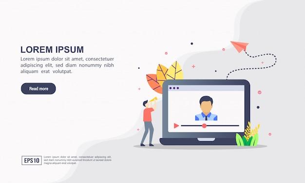 Concepto de plantilla de página web de aterrizaje de video marketing.