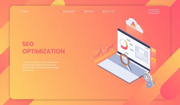 Concepto de plantilla de página web de optimización seo