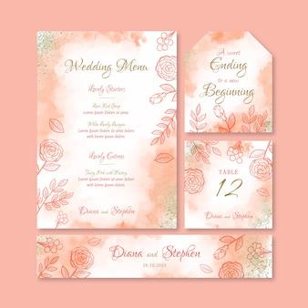 Concepto de plantilla de papelería de boda elegante