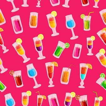 Concepto de plantilla de patrón transparente de bebida cóctel colorido