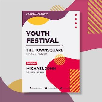 Concepto de plantilla de póster de diseño del festival