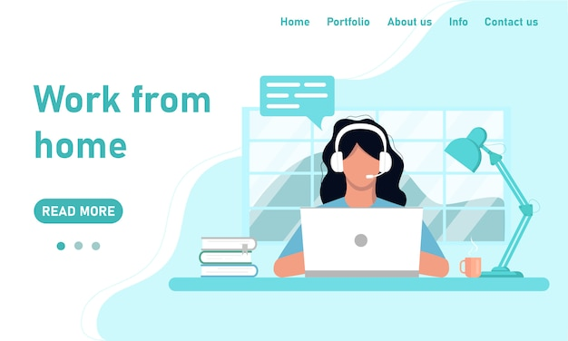 Concepto de plantilla de sitio web y trabajo desde el banner de inicio. chica independiente en auriculares en una computadora portátil trabaja desde el chat de la oficina en casa, atención al cliente, capacitación. gráficos en un estilo plano en colores azules