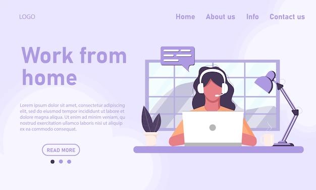 Concepto de plantilla de sitio web y trabajo desde casa