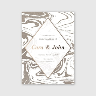 Concepto de plantilla de tarjeta de mármol de boda
