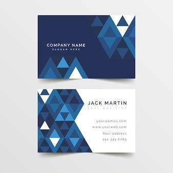 Concepto de plantilla de tarjeta de visita azul clásico abstracto