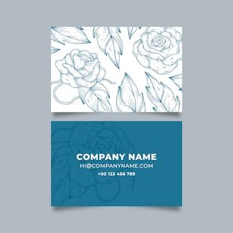 Concepto de plantilla de tarjeta de visita floral realista dibujado a mano