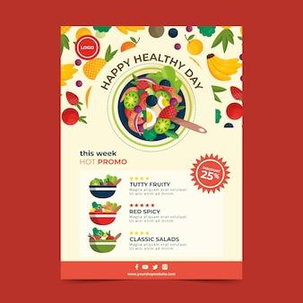 Concepto de plantilla de volante de alimentos saludables