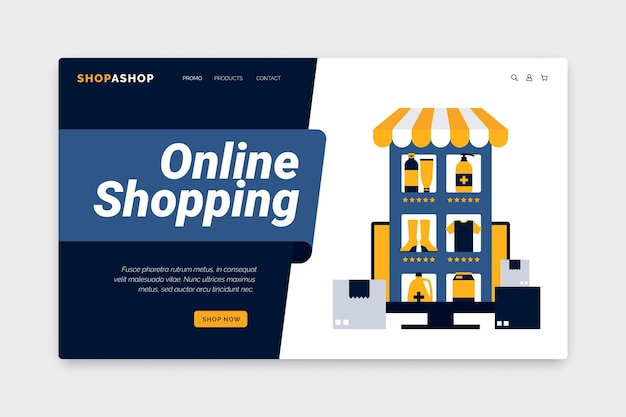 Concepto de plantilla web de compras en línea