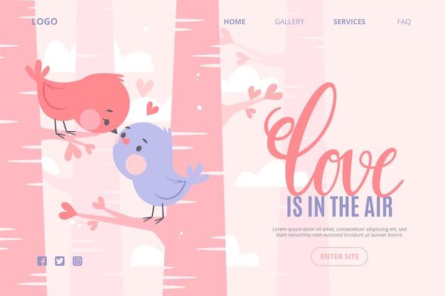 Concepto de plantilla web con el día de san valentín