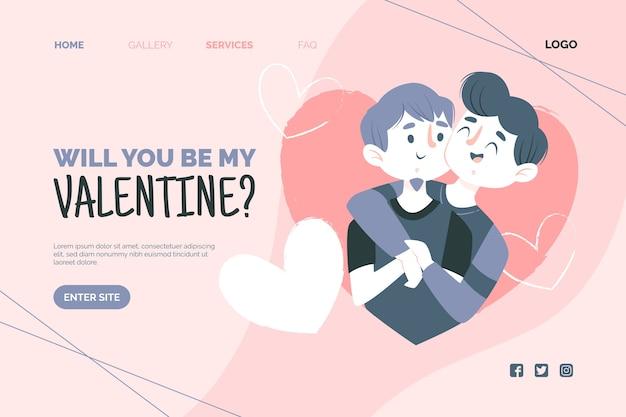 Concepto de plantilla web para el día de san valentín