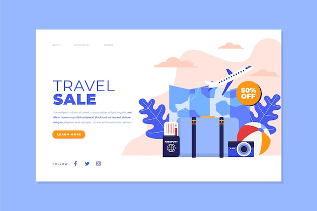 Concepto de plantilla web de página de destino de venta de viajes