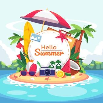 Concepto de playa de horario de verano