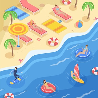 Concepto de playa isométrica