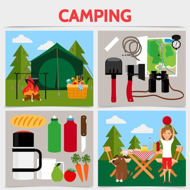 Concepto de plaza de camping plana