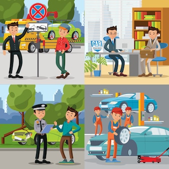 Concepto de plaza de personas y automóviles
