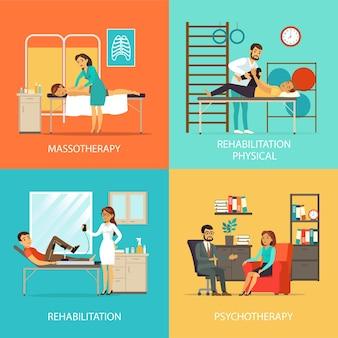 Concepto de plaza de rehabilitación de personas
