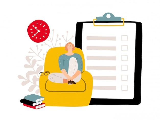 Concepto de plazo para hacer lista y mujer relajada.