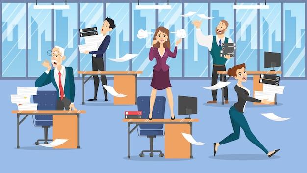 Concepto de plazo idea de mucho trabajo y poco tiempo. empleado apurado. pánico y estrés en el cargo. problemas de negocios. ilustración
