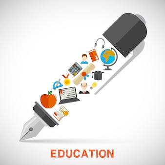 Concepto de la pluma de la educación