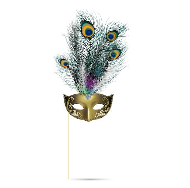 Concepto de pluma de pavo real sobre fondo aislado