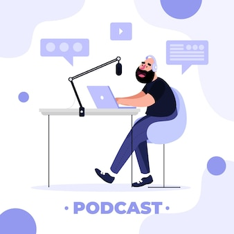Concepto de podcast de diseño plano