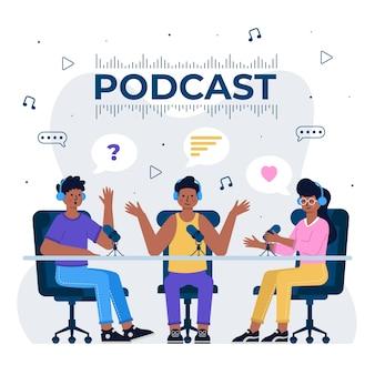 Concepto de podcast con gente charlando