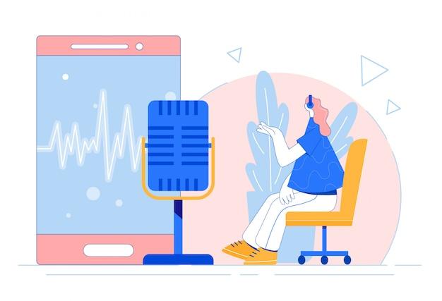 Concepto de podcast de grabación de mujer.