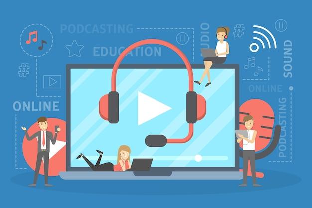 Concepto de podcast. idea de estudio de podcasting y personas en auriculares charlando con micrófono y grabación. medios de radio o digitales. ilustración