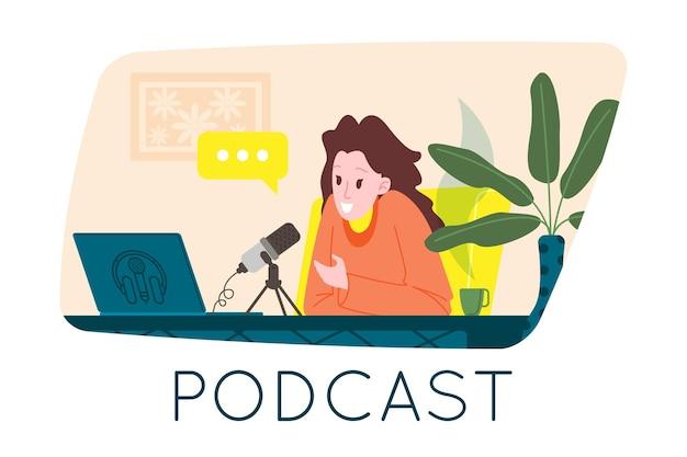 Concepto de podcast. ilustración de dibujos animados de podcasting. podcaster hablando por micrófono y grabando podcast de audio o programa en línea. presentador de radio emite en la radio. vector ilustración plana.
