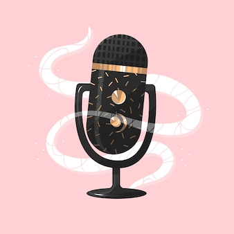 Concepto de podcast, micrófono de oro, conversación de audio, hablar, monólogo, hablar, contenido, vector
