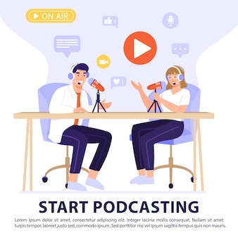 Concepto de podcast o entrevista.